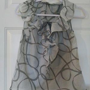 Ann Taylor LOFT petites front tie ruffled shell SP